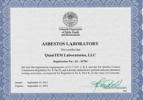 Certification accreditation quantem laboratories environment has issued quantem labs a certificate of accreditation authorizing us to perform asbestos lab services for samples collected in colorado yadclub Image collections